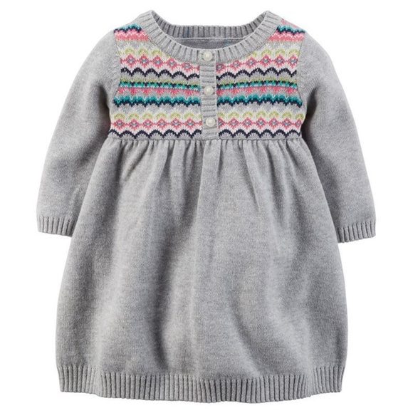 6c5cd1342 Carters Gray Fairisle Sweater Dress   Diaper Cover NWT